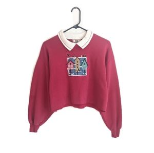 2000s Red Embroidered Cottagecore Cropped Sweater